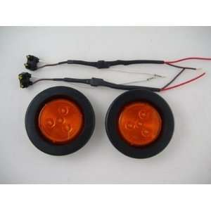 Amber 2.5 Round 4 LED Mini Custom Flasher Park Turn Signal Light Kits