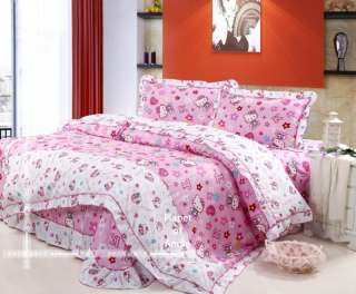 cute cotton Hello Kitty bed quilt cover sheet set 4pcs