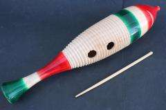 LARGE PROFESSIONAL WOOD GUIRO SHAKER MEXICAN PERCUSSION ART MUSICAL