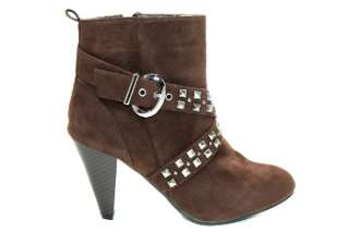 Kristy I 2 Brown Studded Cross Buckle Bootie   Brown