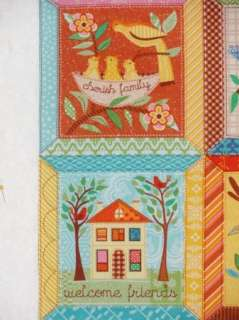 Fancy 6 quilt block squares Faith Family Friends Bird Saltbox house 5