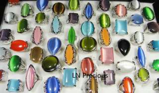 HOT ON SALE wholesale lots 20pcs Big Natural cat eye stone rings free