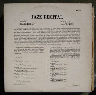 Billie Holiday Jazz Recital LP Clef MG C 718 DG trumpeter logo