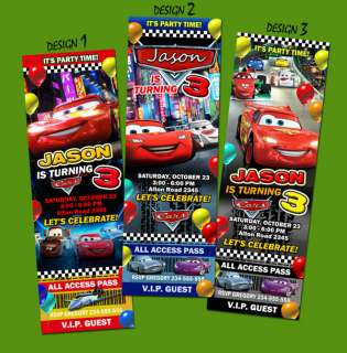 CARS 2 DISNEY PIXAR TICKET BIRTHDAY PARTY INVITATION 1