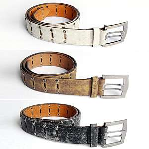 Mens Stud Recycling Leather Belts Brown Black White