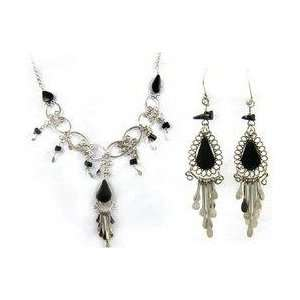 Tear Drop Onyx Necklace & Earring Set