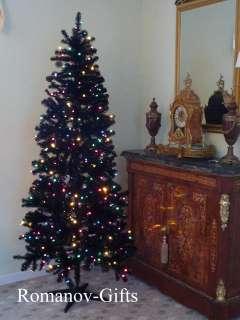 Art Deco Retro Style BLACK Slim Alaska Christmas Tree 7 Foot Pre lit