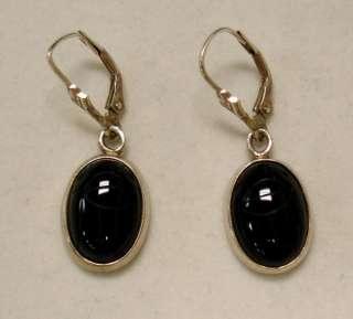 STERLING SILVER .925~BLACK ONYX EARRINGS~LEVER BACK