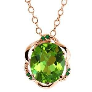 4.19 Ct Envy Green Oval Mystic Quartz and Diamond 18k Rose