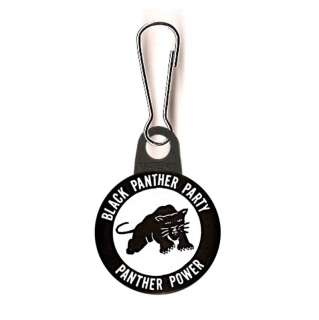 BLACK PANTHER PARTY ZIPPER PULL + FREE 1 BUTTON