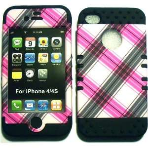 Pink Plaid on Black Silicone for Apple iPhone 4 4S Hybrid