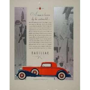 1932 ORIGINAL Ad Red Blue Cadillac V 8 Coupe Art Deco