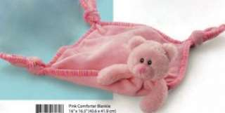 RUSS Pink Teddy Bear Comforter Blankie & Booties/Shoes Newborn Baby