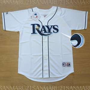 Tampa Bay Rays Majestic SEWN Mens jersey LG white NWT