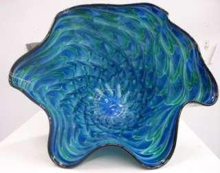 HAND BLOWN GLASS ART BOWL VASE BLUE GREEN #2224 ONEIL