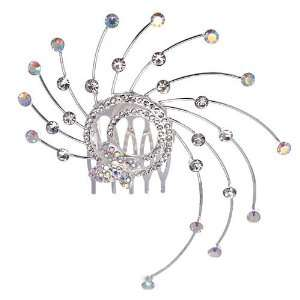 Marie France Silver Crystal Hair Comb Jewelry