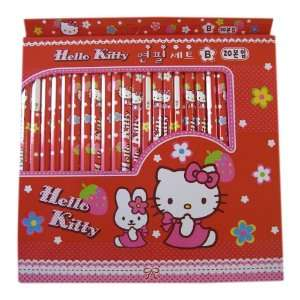 Hello Kitty School Pencils   Set of 20 Pencils in Red