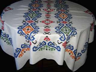 Vtg Cotton Linen Embroidered Cross Stitch Tablecloth 55