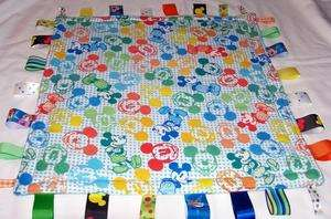 MICKEY MOUSE FACES LOVEY TAGGIE SECURITY RIBBON BLANKET