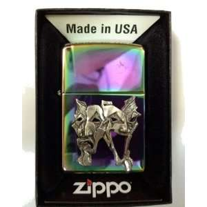 Zippo Custom Lighter   Happy SAD Theater Face Mask Emblem Logo Symbols