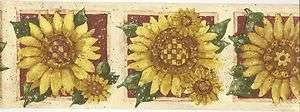Country Floral Wallpaper Border / Sunflower Checkard Wall Border