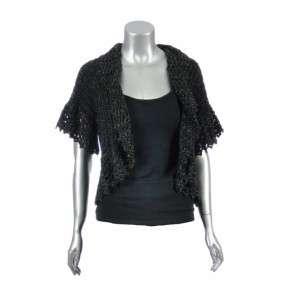 Nygard Womens Black Knit Gold Crochet Shrug Cardigan