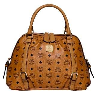 NWT MCM Boston Bag VISETOS Vintage Cognac