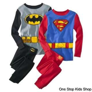 BATMAN OR SUPERMAN Boys 4 6 8 10 Costume PAJAMAS Pjs Set Shirt Pants