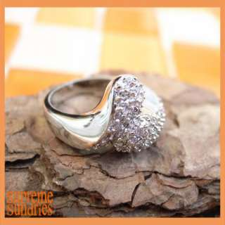 Elegant Design Pave Snake Clear Zircon White Gold Plated Ring 036