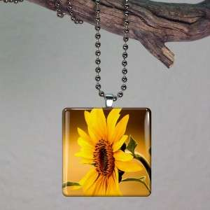 Sun Flower Altered Art Glass Tile Necklace Pendant 386