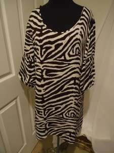 Kors Womens Silk Plus Size Brown and White Animal Print Tunic size 2X