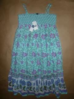 GAP NEW Southwest Smocked Maxi Patio Tank Dress Green Girl 8 12