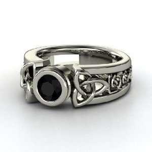 Celtic Sun Ring, Round Black Onyx Palladium Ring Jewelry