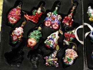 MARK KLAUS MAGIC MEMORIES LOVE, BLOWN GLASS CHRISTMAS ORNAMENT SET