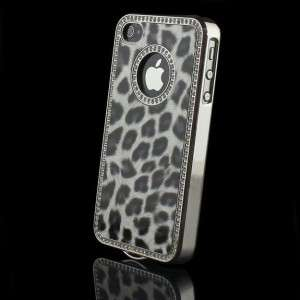 Black Leopard Leather Case Cover for Apple iPhone 4S 4G Wi/Bling