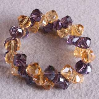 Charming Faceted Crystal Glass Beads Stretchy Bracelet