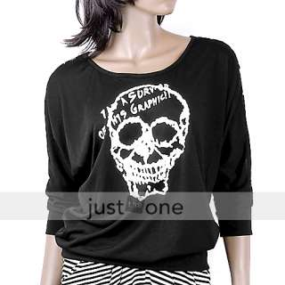 Sexy Lace Cool Skull Loose Bat Short Sleeve T Shirt BLK