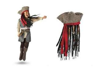 Jack Sparrow Pirate Costume & Hat with Hair Set or