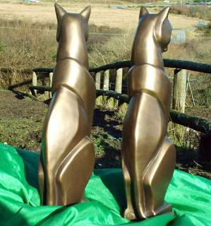 PAIR OF CATS ART DECO STYLE C/C BRONZE BOOK ENDS 1054