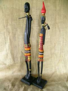 African Art   Zaire Stick Figures Pair