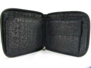 Black Elephant Skin Leather Bifolds Around Zip Men Women Wallet + FREE