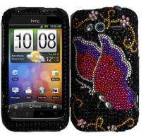 For Metro PCS HTC Wildfire S Pink Butterfly Full Diamond Rhinestone