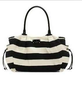 KATE SPADE Stevie Baby Diaper Bag Jubilee Stripe Black/Cream Tote NWT