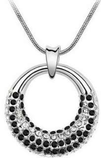 Womans Crystal Circle Platinum Plated Elegant Pendant Necklace Free