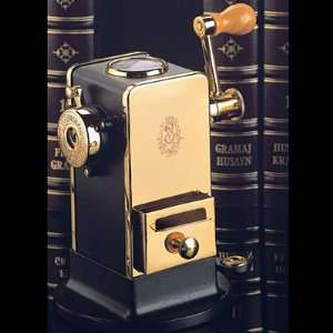 El Casco Black & 23 Kt Gold Plated Pencil Sharpener With Base / Side