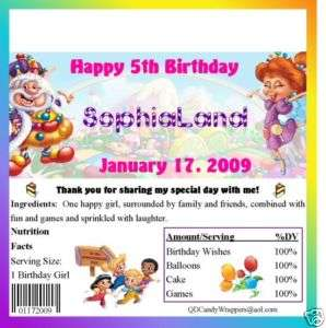Candyland Candy Wrappers/Birthday Party Favors
