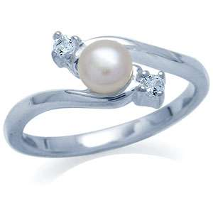 REAL White Pearl & White Topaz 925 Sterling Silver Ring