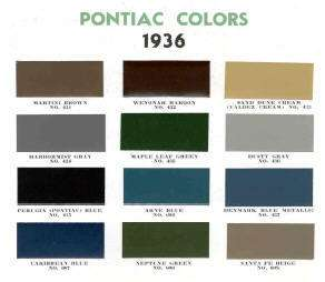 1936 PONTIAC PAINT COLOR SAMPLE CHIPS CARD OEM COLORS