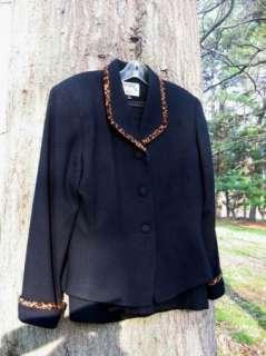 ASL Black Wool Leopard Trimmed Skirt Suit Vintage Inspired 8 6