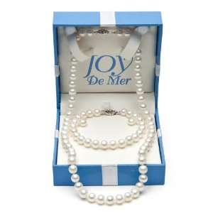 7 8mm Cultured White Freshwater Pearl Necklace, Bracelet